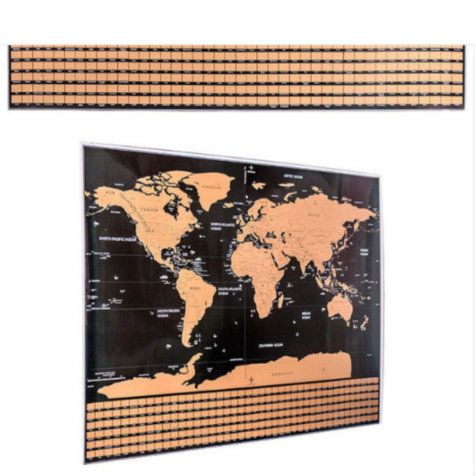 42 * 30cm Black World Travel Map Scratch Off Map Personalized Erase World Map Without Tube Creative Decoration
