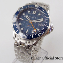 цена BLIGER Classic Automatic Men Watch Blue Dial GMT Hand Ceramic Bezel Mental Strap Sapphire Glass онлайн в 2017 году