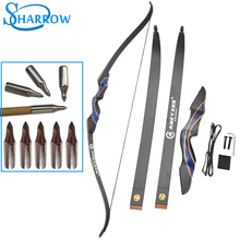 1set 56inch Hunting Recurve Bow 20-50lbs Optional Removable Wooden Longbow With 6 Target Field Points Slingshot Crossbow
