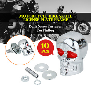 10 Set Motorcycle 6mm Bolt Skull License Plate Frame Bolts Screws Caps Fastener Nuts Bolts Nails Screw 6mm Bolt Moto Accessories