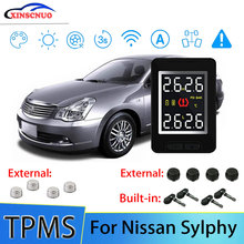 Smart Car TPMS Tire Pressure Monitor System For Nissan Sylphy with 4 sensors Wireless Alarm Systems LCD Display TPMS Monitor for nissan sylphy 2016 2019 smart auto driving assistant system car automatic rain wiper sensors