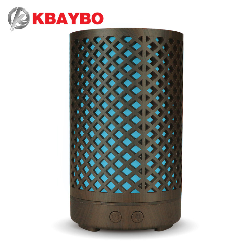 KBAYBO 100ml Bamboo Air Humidifier Essential Oil Diffuser Aromatherapy Electric Aroma Mist Maker witn 7 Color LED Light