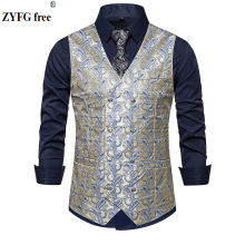 New arrive Fashion men suit vest business casual style Double-breasted design Cashew flowers pattern sleeveless garmen