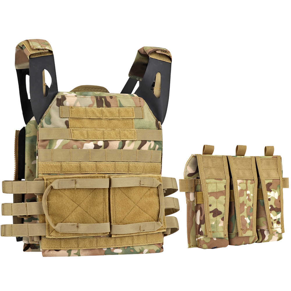 Tactical Vest JPC 2.0 Triple Magazine Pouch M4 5.56 Front Mag Panel AVS Detachable Flap Nylon Paintball Accessories