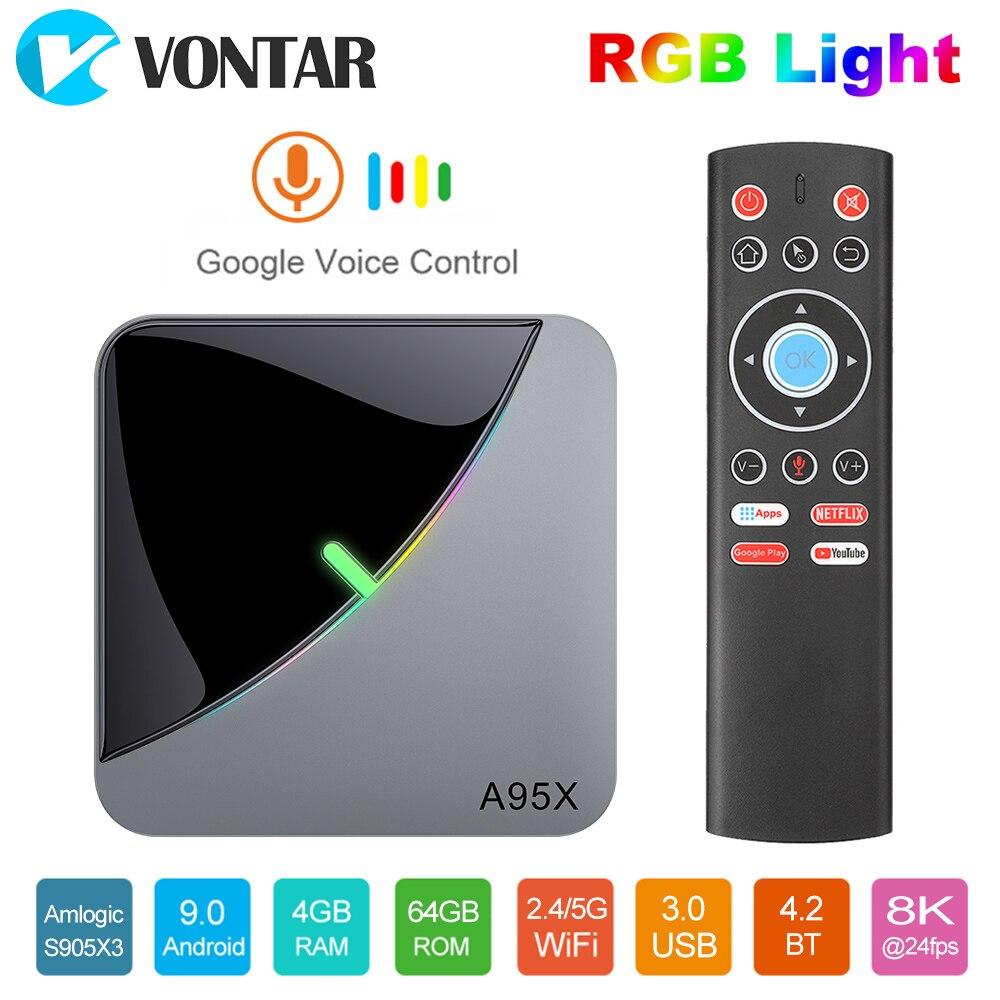 VONTAR 4GB 64GB RGB Light Smart TV Box Android 9.0 A95X F3 Air Amlogic S905X3 Wifi 4K 60fps Netflix Youtube Media Player
