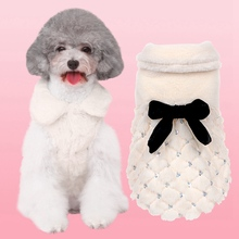 Pet Winter Warm Clothes Dog Cat Luxury Faux Fur Coat Jacket Fleece Overcoat Small Bow-Knot For Chihuahua