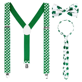 3 Pieces St. Patrick'S Day Suspender Accessories Set Includes Shamrock Suspenders Shamrock Neckties Bowties for Irish Holiday Pa фото