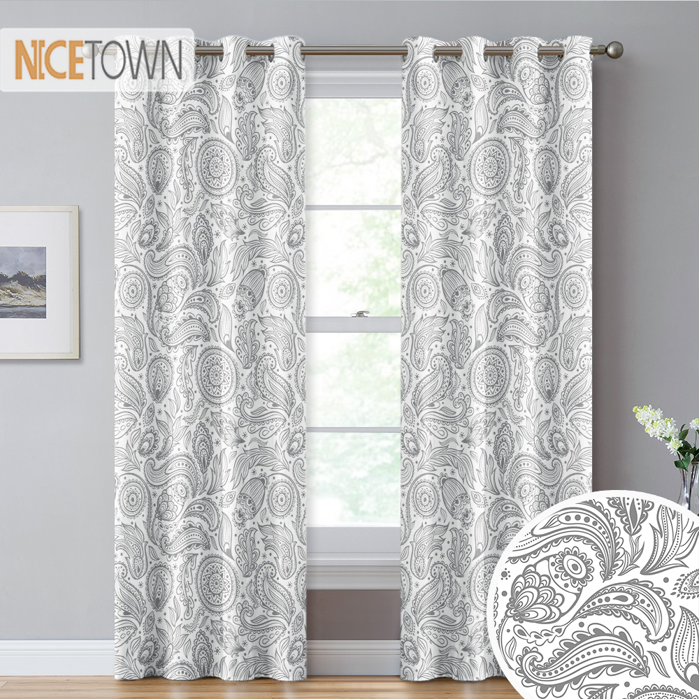 NICETOWN 1PC Paisley Floral Boho Style Printed Blackout Curtain Window Curtain Living Room Bedroom Office Decoration Modern
