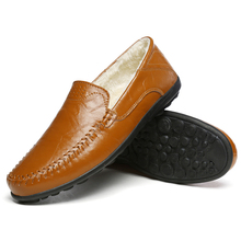 Big Size Winter Warm Plush Driving Boat Shoes PU Leather Men Casual Flats Loafers Soft Male Moccasins  3#15/15D50