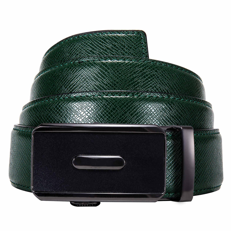 ชาย 130 ซม.เข็มขัดหนังสีเขียวเข็มขัดอัตโนมัติสไลด์หัวเข็มขัดหัวเข็มขัดสายรัดเอวสำหรับงานแต่งงานธุรกิจ Barry.wang