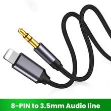 8 pinos para 3.5mm jack aux cabo de iluminação para aux adaptador de fone de ouvido extensão áudio conector kable splitter para iphone 12/11