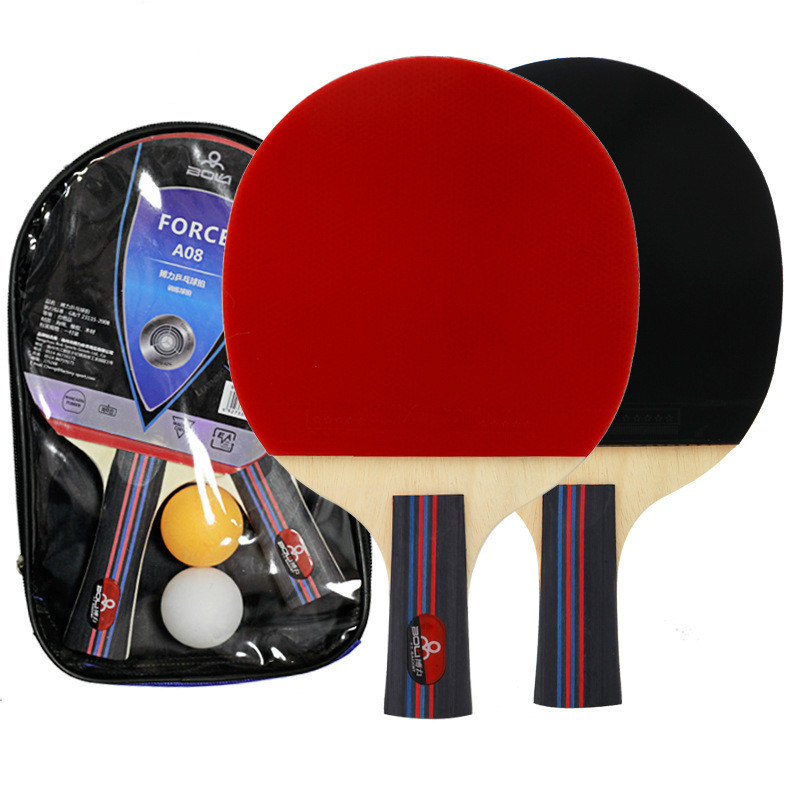 2Pcs Table Tennis Racket Long Handle Short Handle Rubber Carbon Double Face Pimples Ping-Pong Rackets Bat With 2 Balls And Case