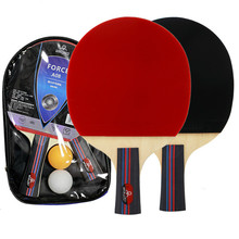 2Pcs Table Tennis Racket Long Handle Short Rubber Carbon Double Face Pimples Ping-Pong Rackets Bat With 2 Balls and Case