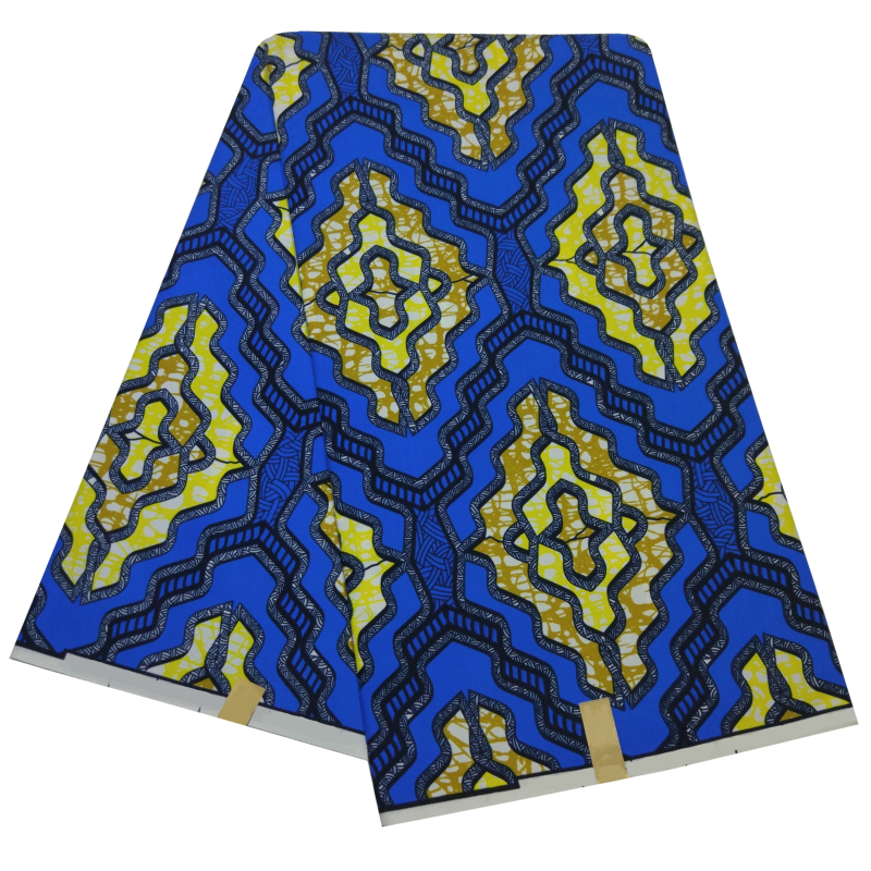 New 6 Yards Veritable Wax Tissu African Blue&Yellow Printed Polyester Fabric Guaranteed Real Dutch Wax African Ankara Fabrics