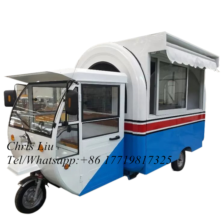 2020 New Design Motorcycle Food Ice Cream Cart Trailer Street Icecream Snack Cart