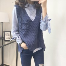 2019 Autumn Women Wool Sweater Vest Sleeveless O-Neck Knitted Female Casual Tank Tops