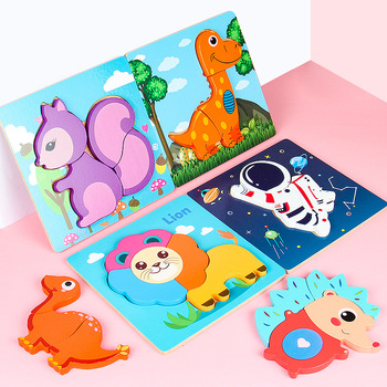 New Gift Kids Toys Wooden 3D Jigsaw Puzzle Tangram For Children Baby Early Education Cartoon Dinosaur Animal Jigsaw Puzzle Toy non toxic wooden animal jigsaw puzzle 3d dinosaur diy assembled toy children educational toys birthday gift