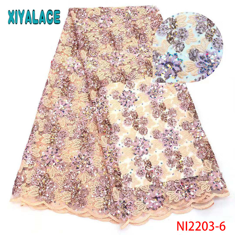 African Sequin Lace Fabric 2019 High Quality Lace Nigerian French Tulle Lace With Sequins For Wedding KSNI2203-6