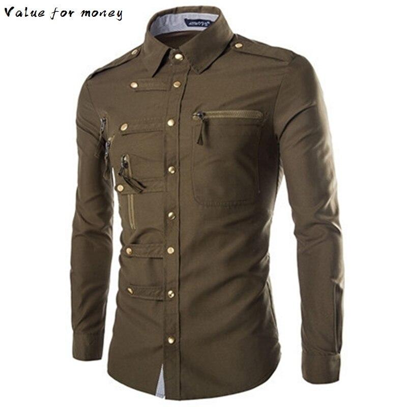 Tuxedo Shirt Mens Spring Formal-Dress Muti-Button Military-Style Plus-Size Male England
