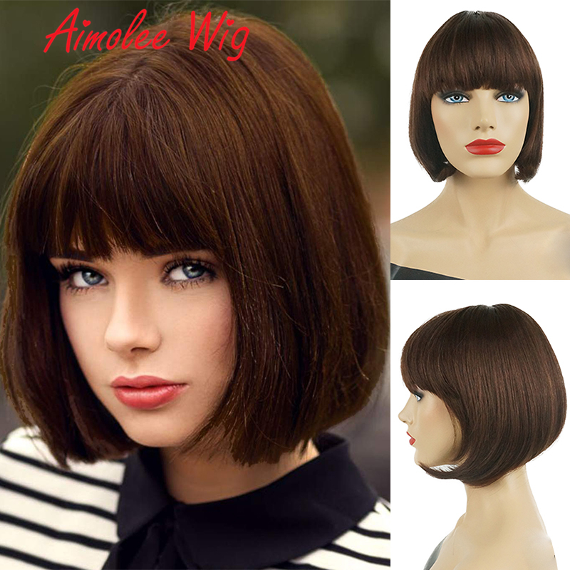 Aimolee Short Straight Bob Wigs with Bangs for Women Human Hair Blend Synthetic Wig Auburn Black Natural Looking
