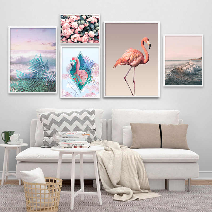 Pink Flower Posters Flamingo Prints Picture for Living Room Art Decor Nordic Wall Art Canvas Painting Modern Home Pop Art Mural