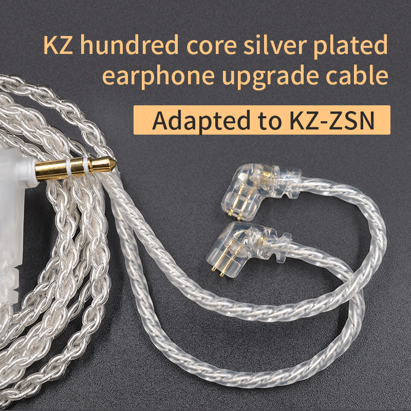 <font><b>KZ</b></font> Earphone Plated Silver Upgrade <font><b>Cable</b></font> 3.5mm 0.75MM 2 Pin Connector Use For ZSX ZSN <font><b>ZS10</b></font> PRO AS12 AS16 A10 Headset image