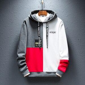 Image 3 - SingleRoad Mens Fashion Hoodies Men 2020 Winter Hip Hop Japanese Streetwear Harajuku Colorblock Patchwork Sweatshirt Hoodie Men
