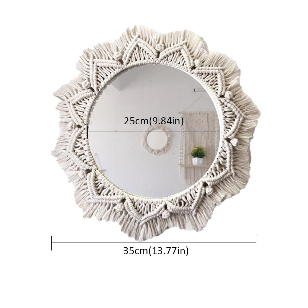 Macrame espelho artesanal tapeçaria maquiagem espelho compacto