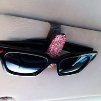 1Pcs Car Auto Sun Visor Glasses Sunglasses Clip Card Ticket Holder Pen Case Universal Accessorie Diamond Car Sun Visor Glasses
