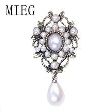 MIEG белая имитация жемчуга капля Винтажная брошь с булавкой для женщин вечерние ювелирные изделия