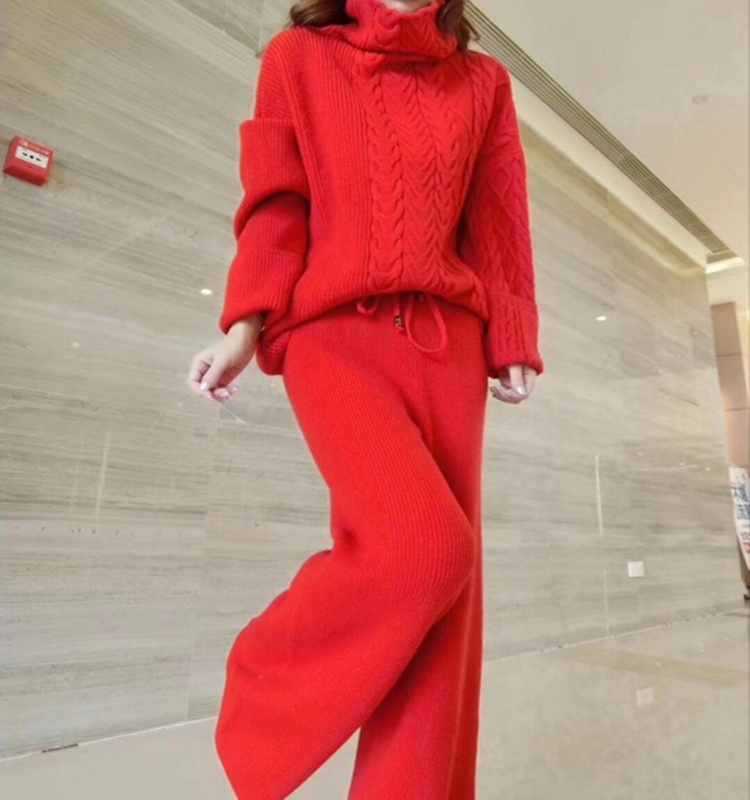 Winter Fashion Women Wool Knitting Suit Casual Thickening Turtleneck Sweater And Wide Leg Pants 2 Piece Outfits For Women