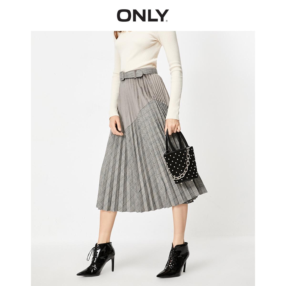 Только Женская плиссированная юбка в клетку с высокой посадкой | 119316515|Юбки|   | АлиЭкспресс