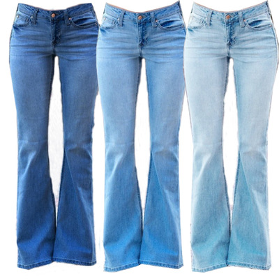 Women Full Length Denim Jeans Slim Flare Pants Ladies Plus Size Casual Jean