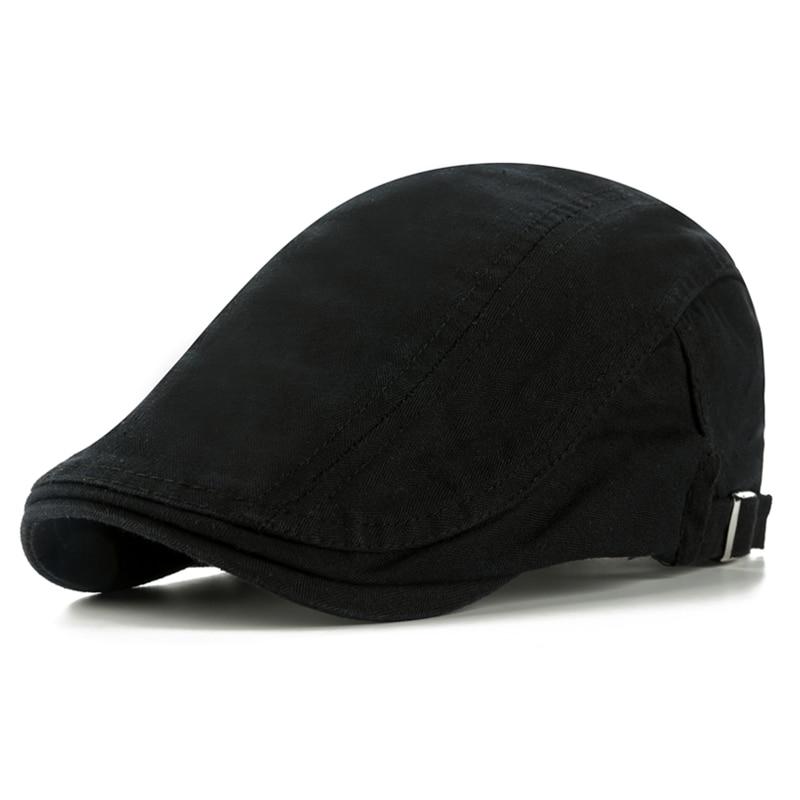 CNTANG Classic Solid Color Men's Casual Berets Fashion Vintage Cotton Visor Caps For Men Retro Flat Hats Brand Summer Beret