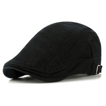 CNTANG Classic Solid Color Mens Casual Berets Fashion Vintage Cotton Visor Caps For Men Retro Flat Hats Brand Summer Beret