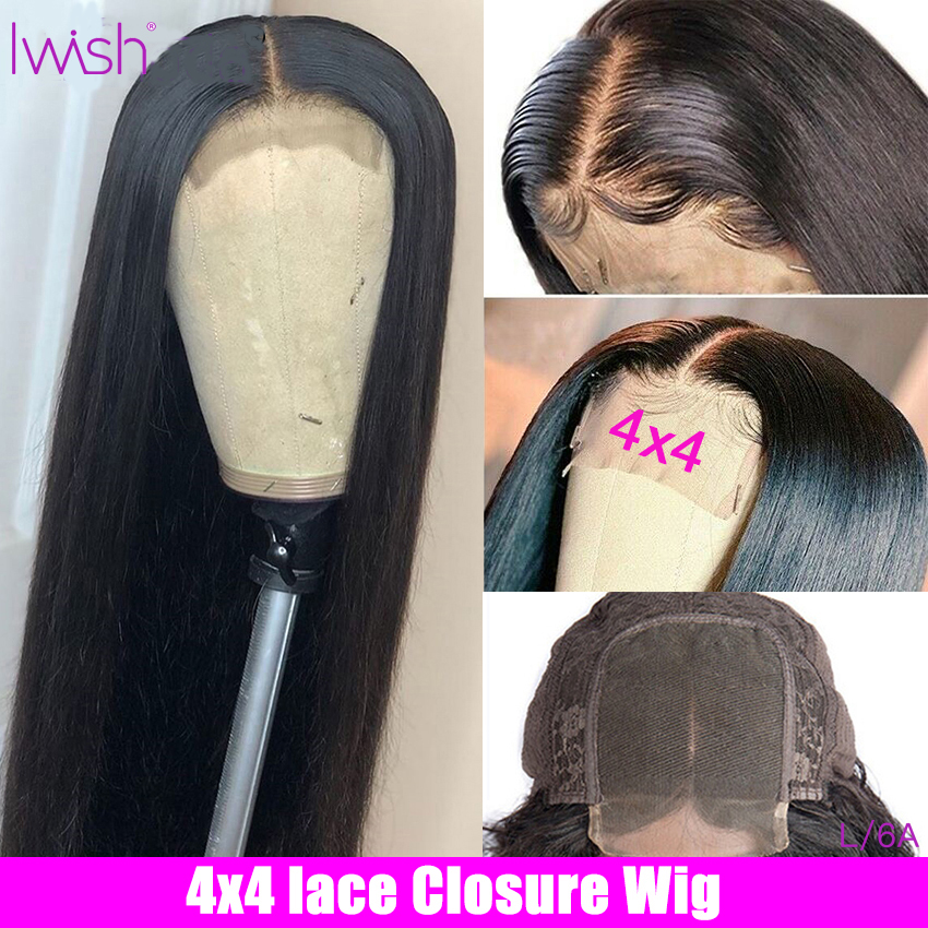 Closure Wig Straight Human Hair Wigs 4x4 Lace Closure Wig For Women 150% Density Iwish Brazilian Remy Human Hair Wigs
