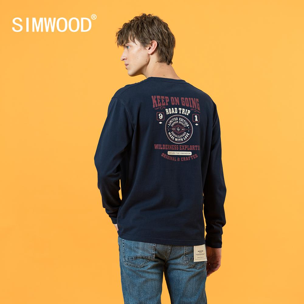 SIMWOOD long sleeve t-shirt men letter print 240g thick fabric tops 100% cotton plus size high quality tshirt SJ120836