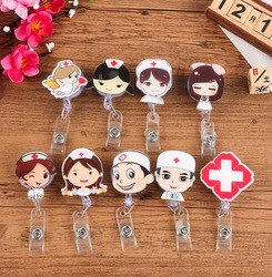 1 Pcs Cute Retractable Badge Reel Cartoon Student Nurse Exhibition ID Name Card Badge Holder Office Supplies