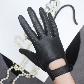 New Arrival Luxury Womens Genuine Leather Gloves Sheepskin Fashion Black Breathable Driving For Female Mittens