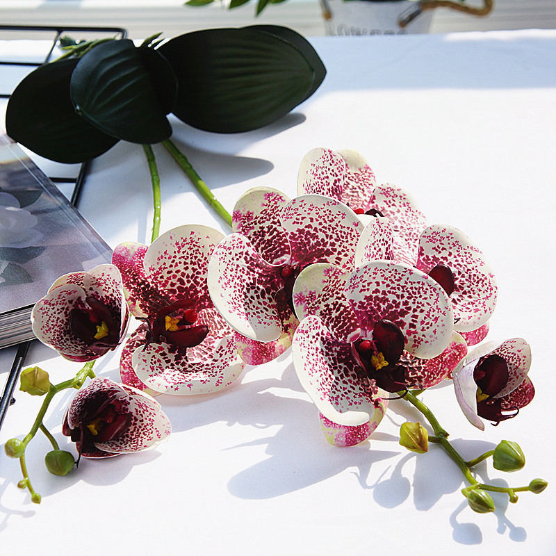 Artificial Flowers Plastic Orchid Wedding Decoration 2 Branches With Leaves Nature Orchids Fake Flowers Home Garden Decors(China)