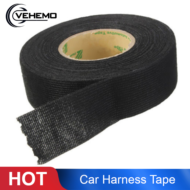 VEHEMO 1Roll 19mm X 15m Sound Insulation Wiring Harness Tape Strong Adhesive Cloth Fabric Tape For Looms Cars Accessories