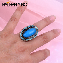 Fashion Womens Rings Vintage Blue Rhinestones Ellipse Adjustable Large Accessories resin ring