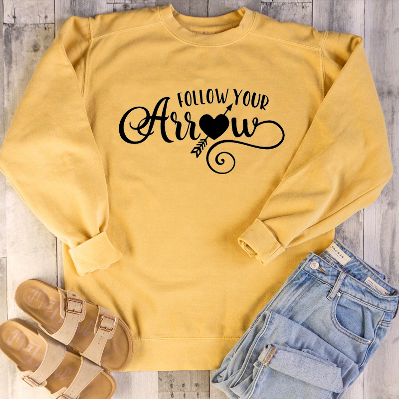 Women Holiday Unisex Funny Cute Graphic Heart Pure Cotton Quality Cute <font><b>Tops</b></font> <font><b>Follow</b></font> Your Arrow Valentine's Day Sweatshirt image