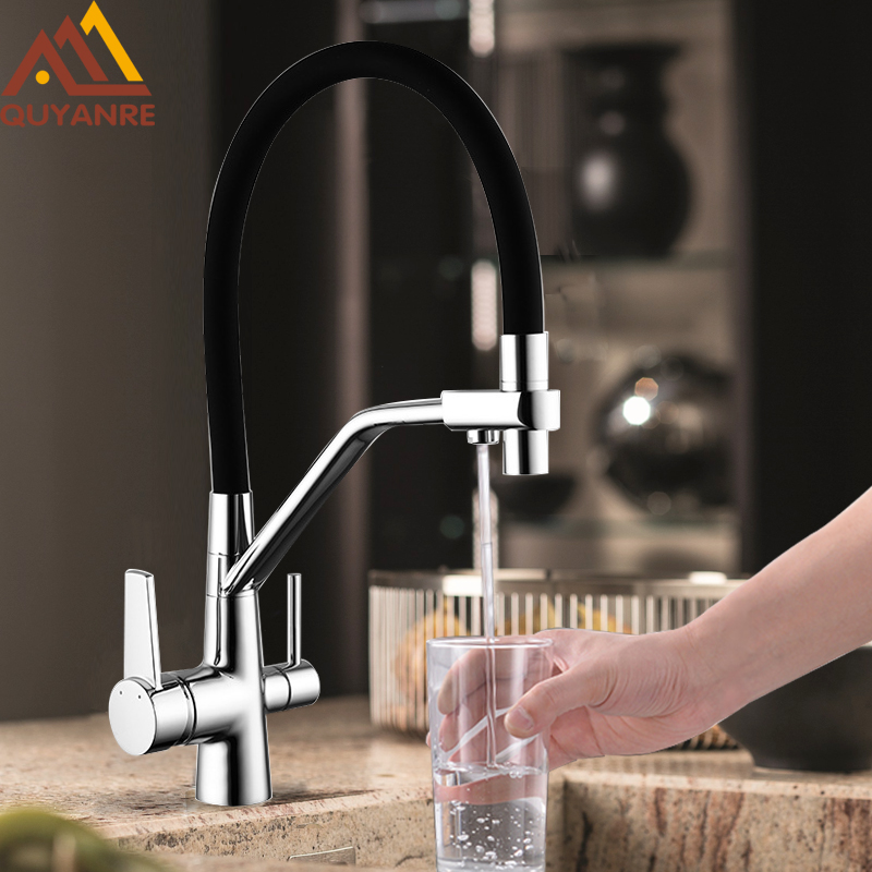 Quyanre Filtered Kitchen Faucets Purification Kitchen Tap 360 Rotate Water Filter Tap For Kitchen Three Ways Kitchen Faucets Tap