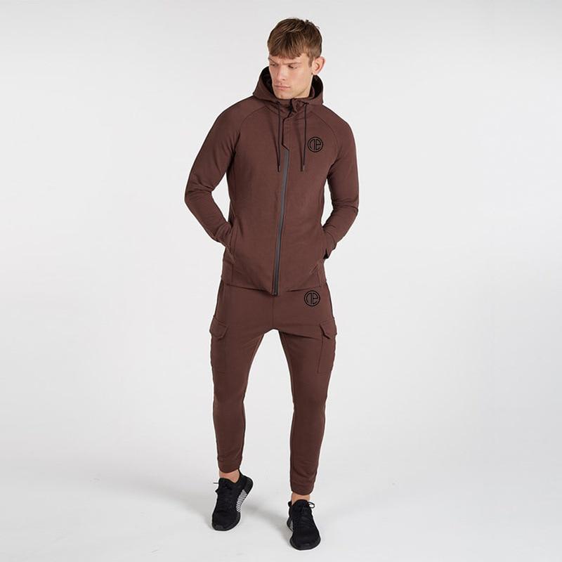 Men Running Sportswear Suits Sweatshirt/Sweatpants Gym Fitness Training Hoodies And Pants 2pcs/Sets Male Jogging Tracksuit Coats