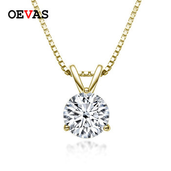 OEVAS Gold Color 100% 925 Sterling Silver Bridal Necklace Sparkling Real 1 Carat D Moissnaite Pendant Party Fine Jewelry