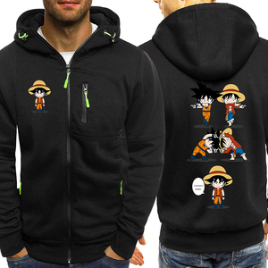 Image 3 - Luffy Funny Hoodies Men Casual Jacket Japanese Anime Dragon Ball Z Mens Sweatshirt One Piece Hoodie Male 2019 Coats Tracksuits