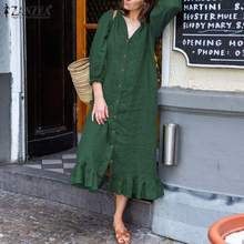 Ruffle Dress Solid-Robe Vestidos ZANZEA Elegant Plus-Size Casual Women's Autumn Button