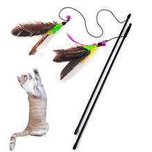 Pet Cat Teaser Toys Feather Linen Wand Cat Catcher Teaser Stick Cat Interactive Toys Wood Rod Feather Toy With Mini Bell