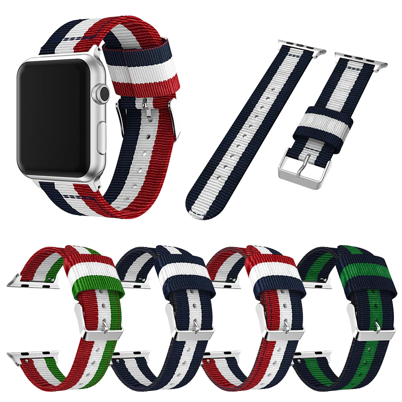 For Fashion Nylon Band Apple Watch 44mm 40mm 42mm 38mm Band Bracelet For IWatch Series 1 2 3 4 Wrist Strap Watchband Accessories
